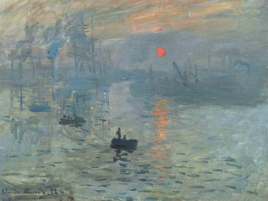 detail of Claude Monet painting of early morning harbor scene