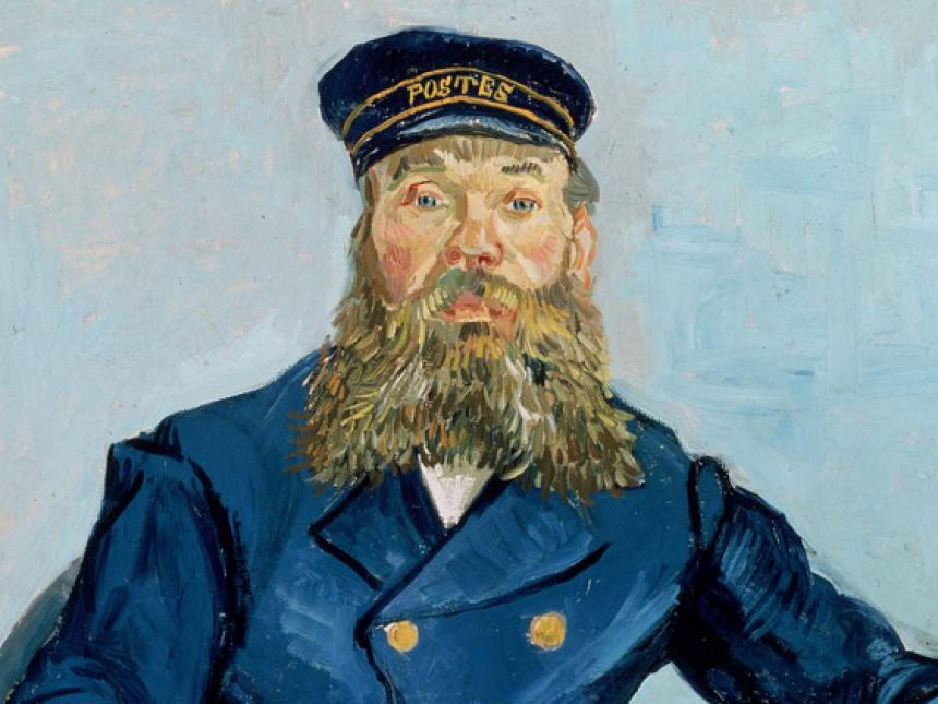 Detail of Vincent van Gogh's painting, Postman Joseph Roulin