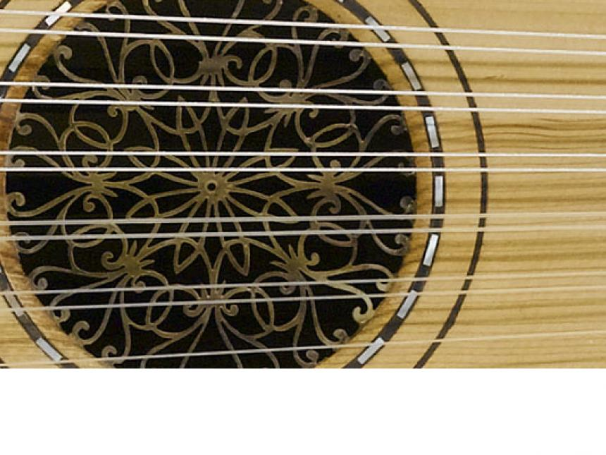 Detail of lute ('ūd), made by Emmanuel Venios