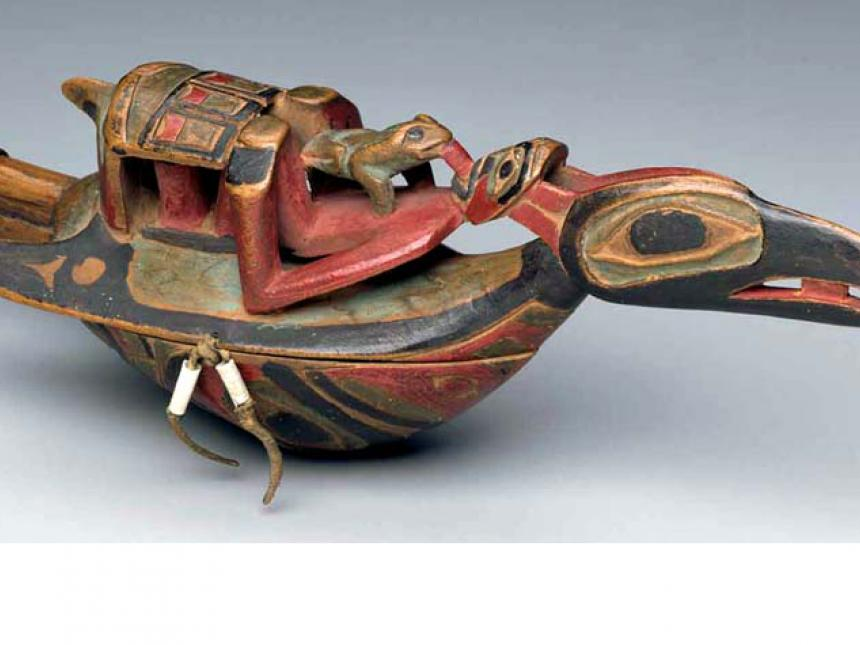 Detail of 19th century vessel rattle, probably made by Haida people
