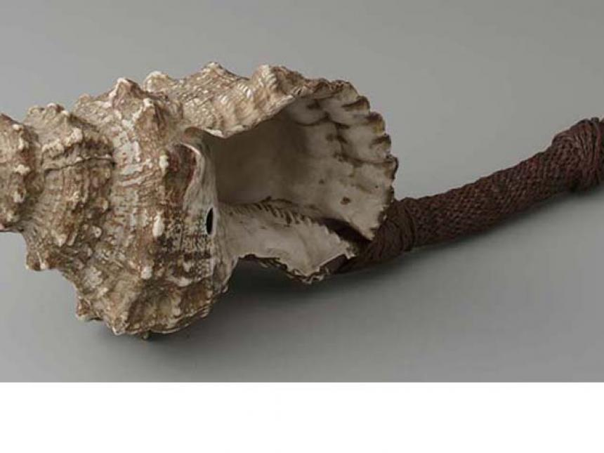 Detail of 19th century shell trumpet (davui) from Fiji