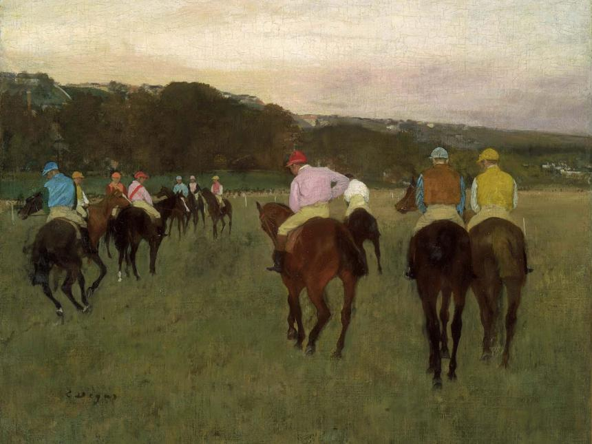 Detail of Edgar Degas' painting, Racehorses at Longchamp