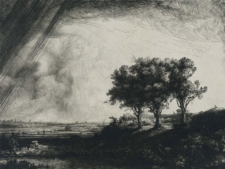 Detail of Rembrandt's print, The Three Trees