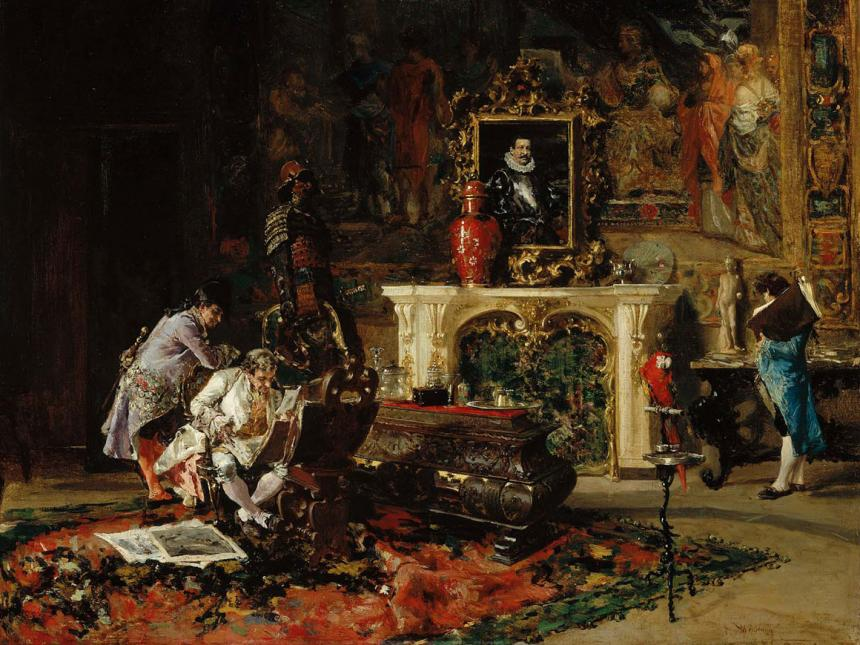 Detail of painting, Antiquaries, by Mariano José Maria Bernardo Fortuny y Carbó