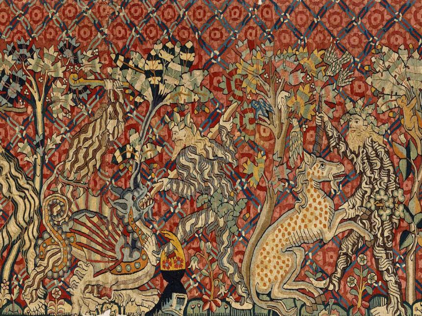Detail of German tapestry, Wild Men and Moors