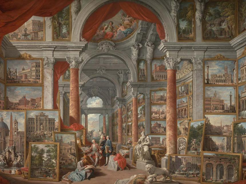 Detail of Giovanni Paolo Pannini's painting, Picture Gallery with Views of Modern Rome