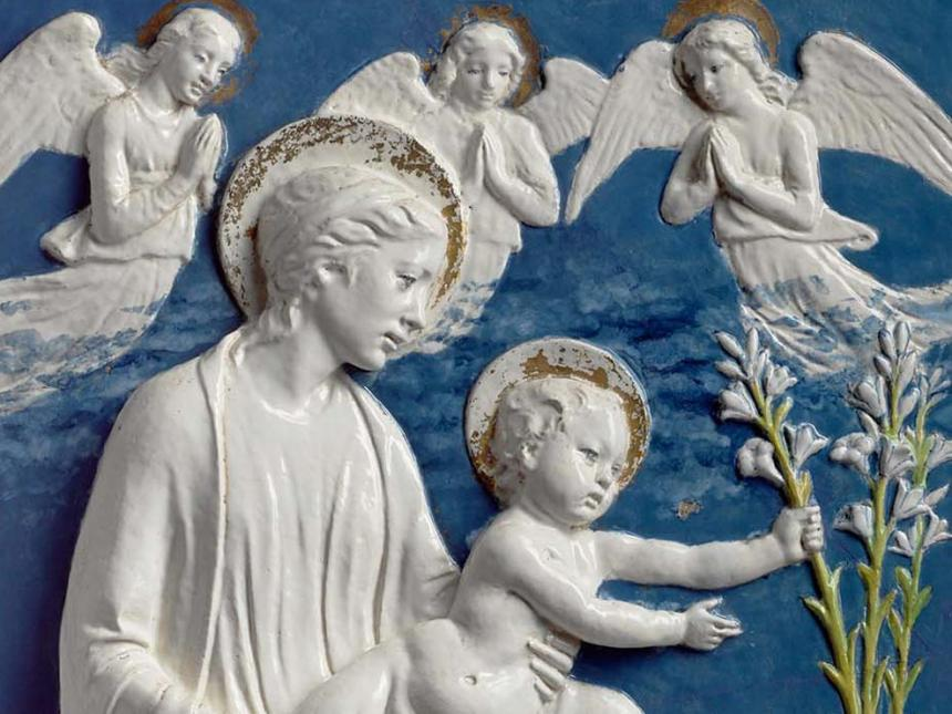 Detail of ceramic, Virgin and Child with Lilies, attributed to Luca della Robbia