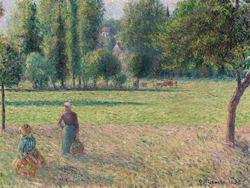 Detail of Camille Pissarro's painting, Two Peasant Women in a Meadow (Le Pré)