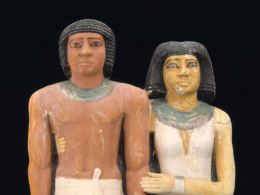 Detail of pair of Egyptian statues of Ptahkhenuwy and his wife