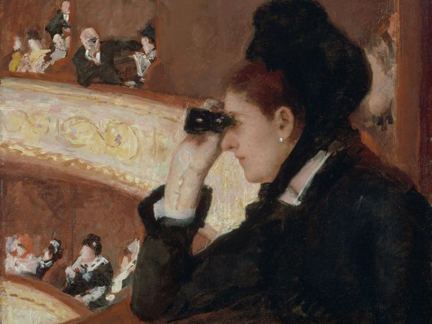 Detail of the painting, In the Loge, by Mary Cassatt