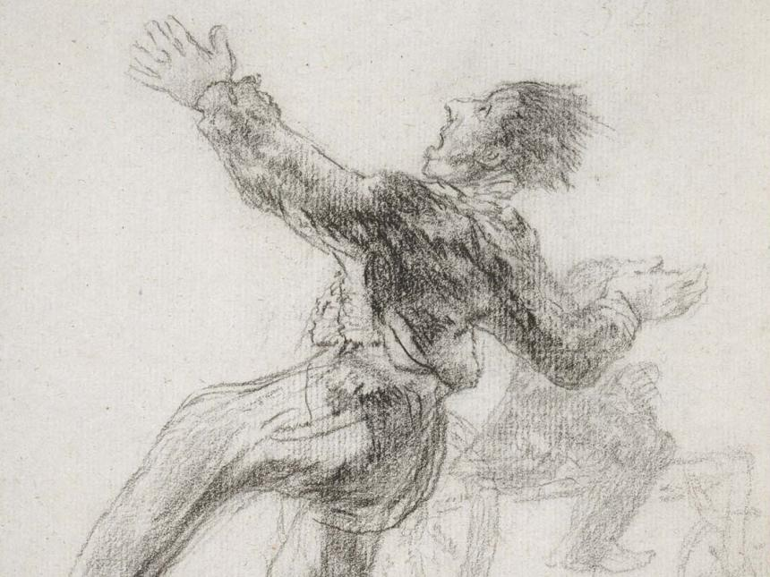 Detail of Goya's drawing, Crazy Skates (Locos patines)