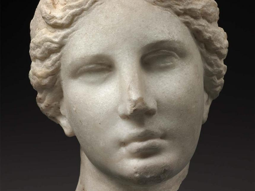 Detail of a bust depicting the head of Aphrodite