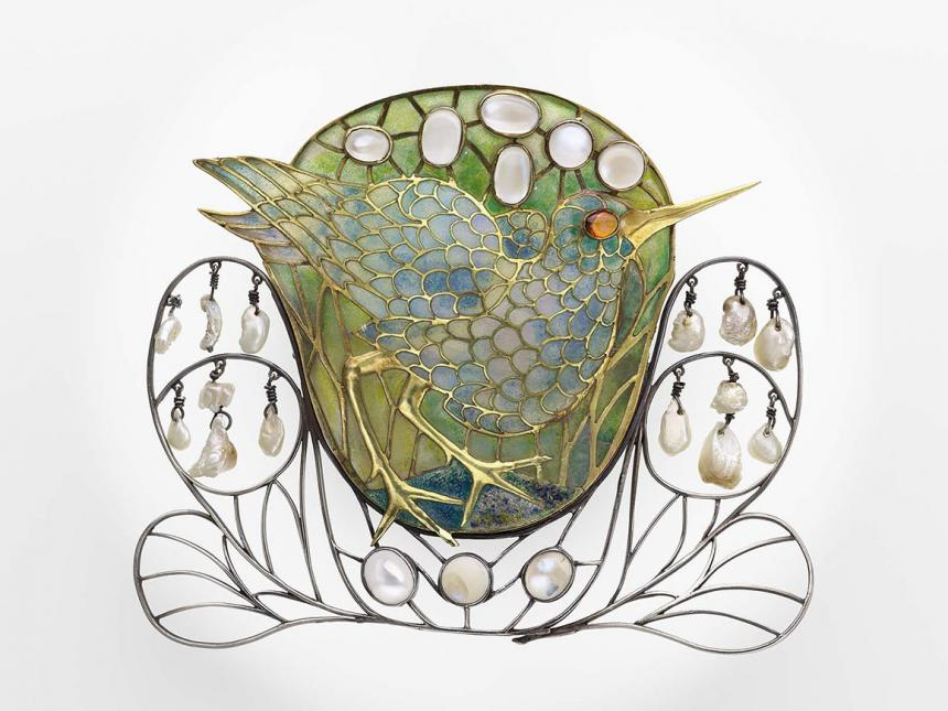 Marsh bird brooch designed by Charles Robert Ashbee