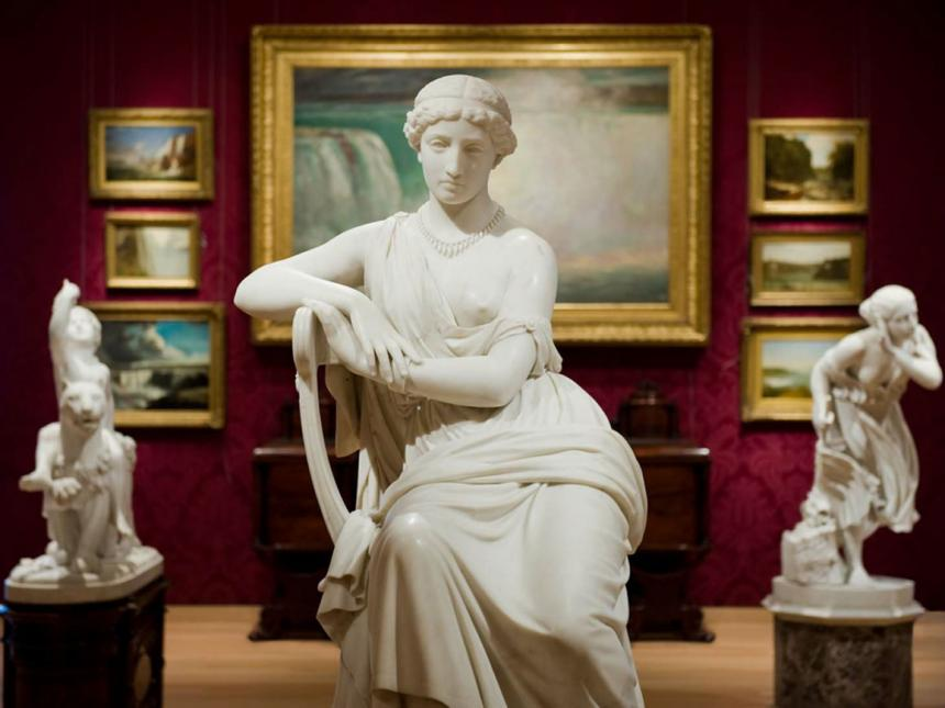 William Wetmore Story's sculpture, Sappho, in the foreground of the Salon Gallery, 233