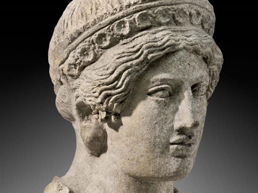 Detail of Etruscan statue of a woman's head