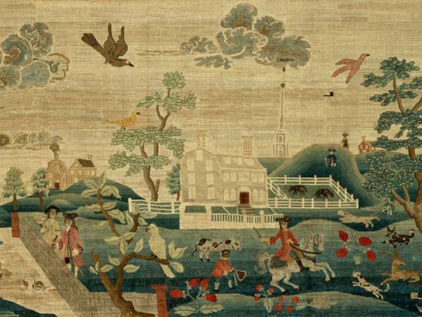 Detail of tapestry, View of Boston Common, by Hannah Otis