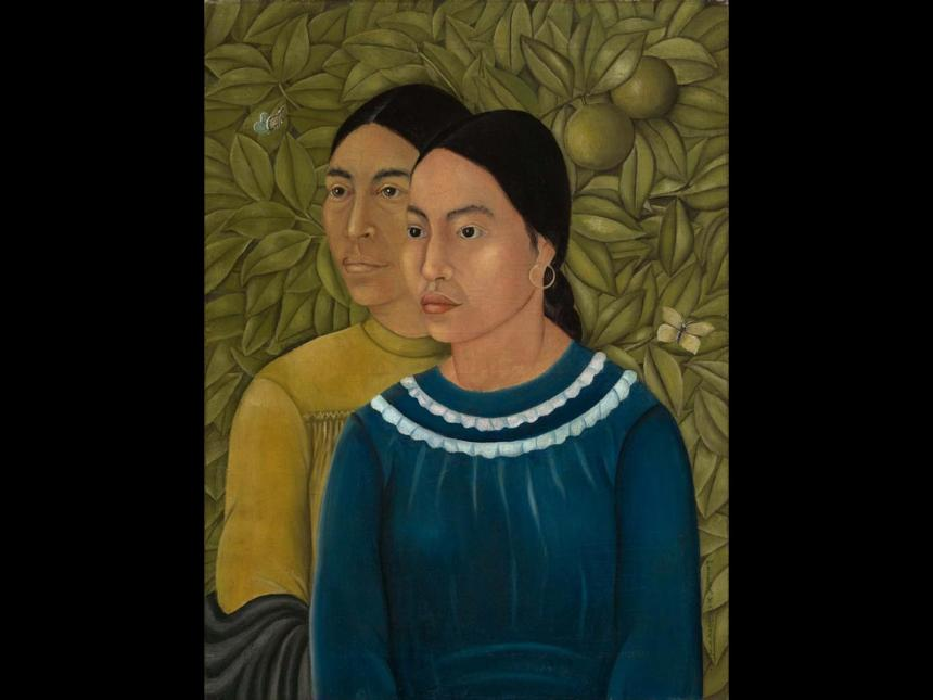 Frida Kahlo portrait of two sisters, with leafy green background behind them