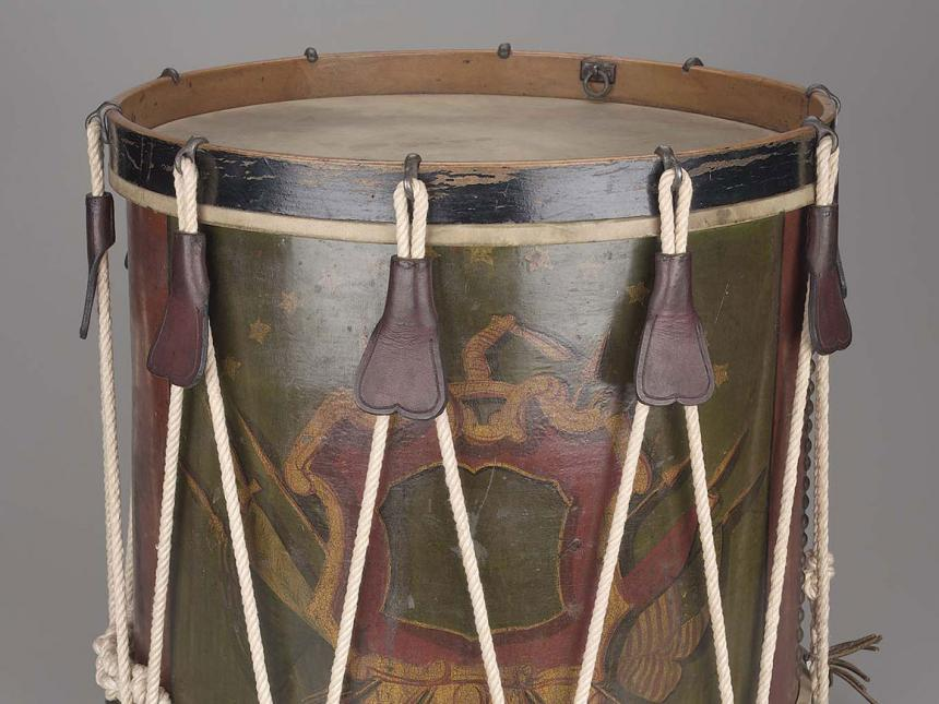 Detail of 19th century side drum