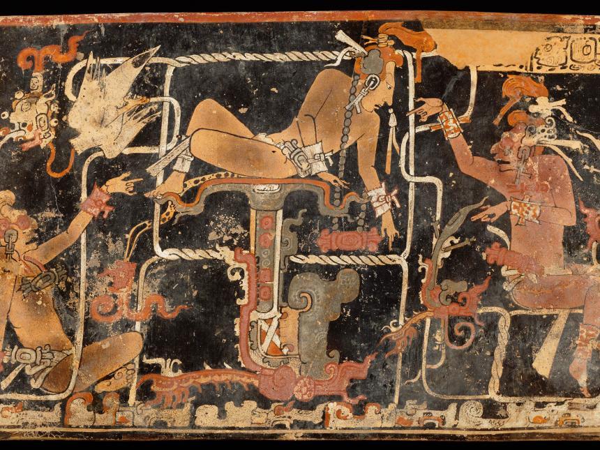 Detail of Mayan cylinder vase