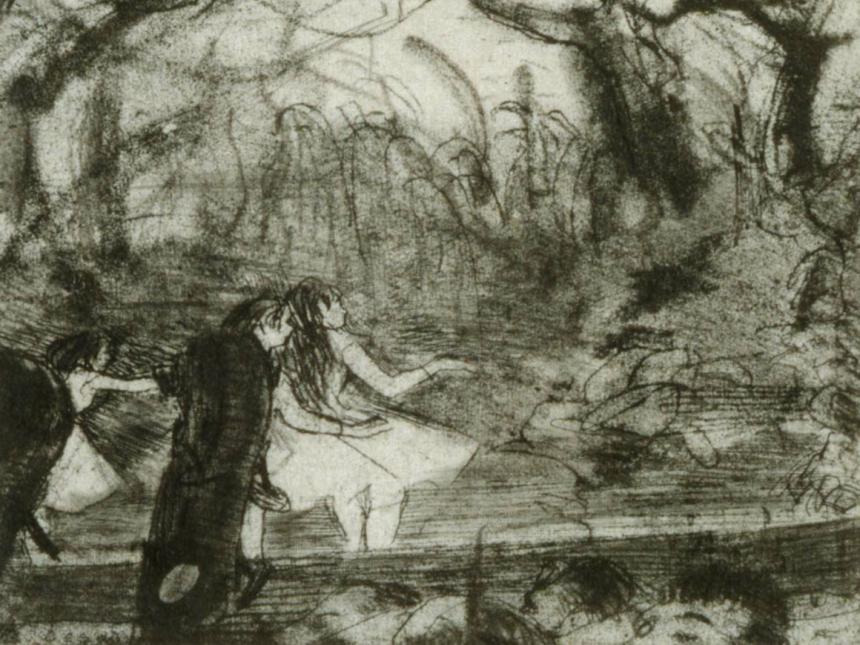 Detail of Edgar Degas' print, On Stage III