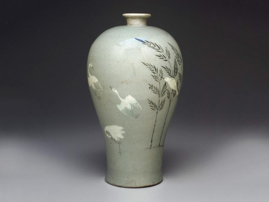 Korean vase depicting cranes and bamboo shoots