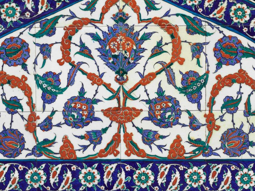 Detail of Ottoman tile lunette with a floral pattern