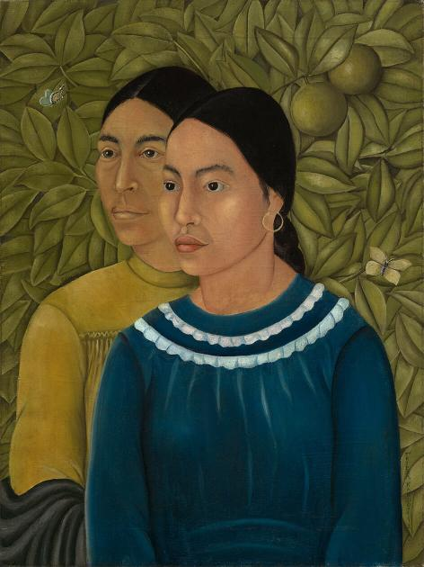 Painting of two women set against dense tropical foliage; woman in foreground wears blue shirt with white rings around collar