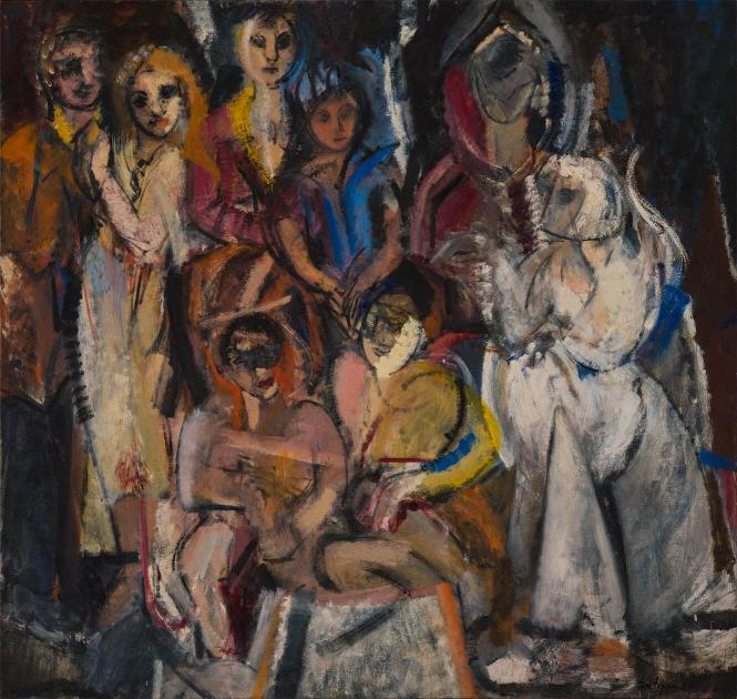 oil painting depicting group of abstract female nude figures