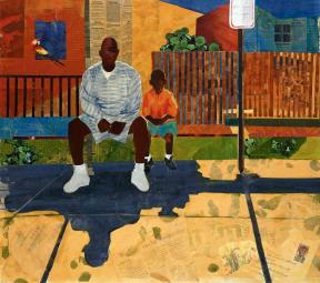 Collage of man and boy sitting on a bench on a street