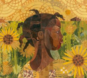 A girl walks through a field of sunflowers