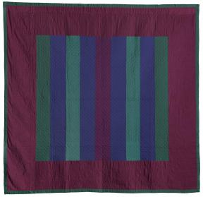 Quilt of purple, green and blue strips