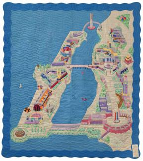 Multi colored quilt depicting a map and assorted objects