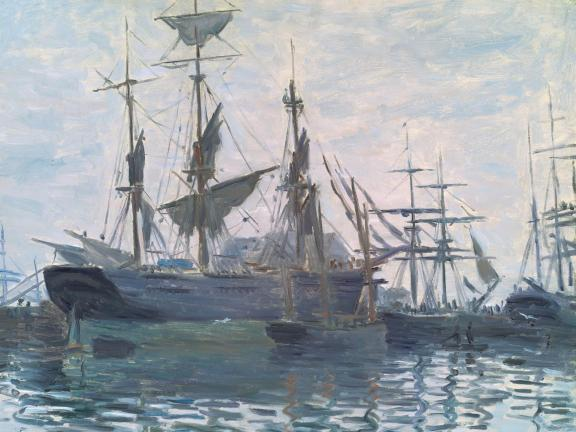 Impressionist Monet painting depicting tall ships in harbor
