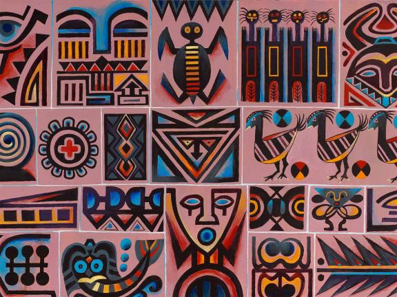 A painting of an assortment of faces, patterns and creatures.