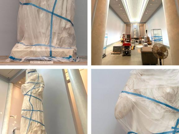 Grid of four photographs depicting different views and details of tall Juno sculpture covered in plastic wrap and tape