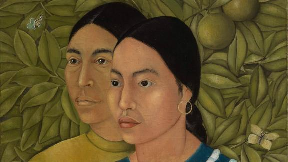 detail of painting of two women set against dense tropical foliage