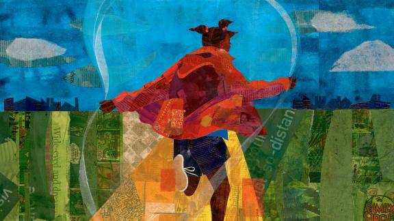 detail of collage depicting young girl with a jump rope skipping down a golden path in the middle of a grassy terrain with a bright blue sky and puffy white clouds overhead