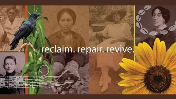 Digital collage featuring photographs of Indigenous American and African American women, a sunflower, a crow, a cornstalk, and shells.