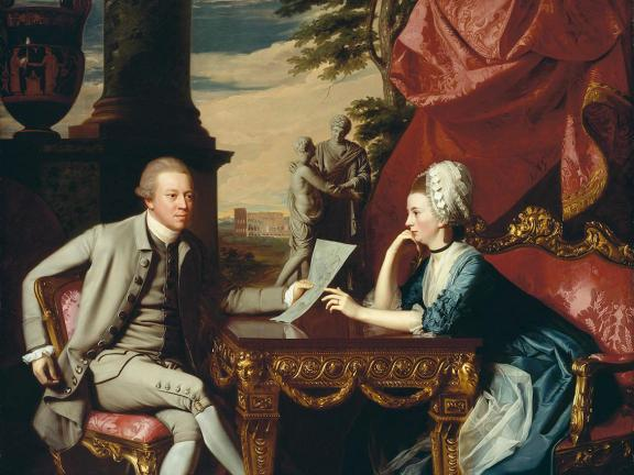 Copley painting depicting couple, with mean seated and woman leaning over table between them