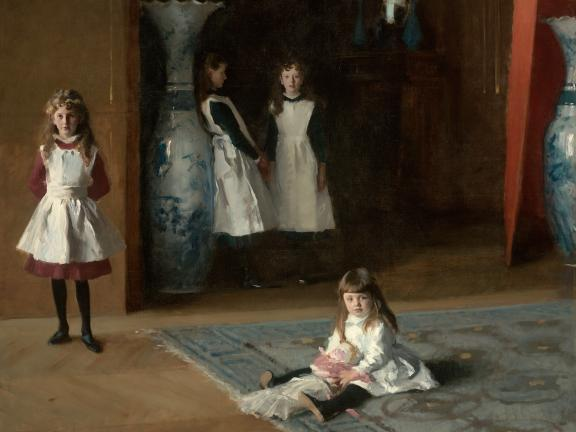 Sargent painting depicting four sisters; two standing in background against tall vase; one standing on left; youngest one sitting on carpet, holding doll