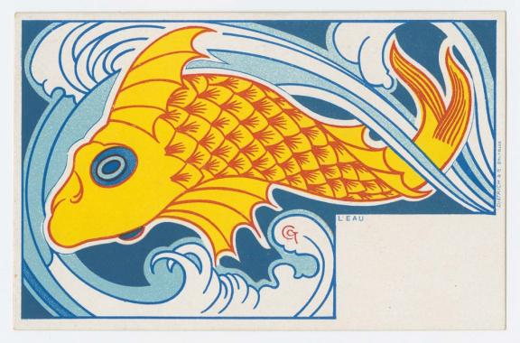 Gisbert Combaz (Belgian, 1869–1941), Water, from the series The Elements, 1898. Color lithograph. Leonard A. Lauder Postcard Archive. Gift of Leonard A. Lauder, 2012.