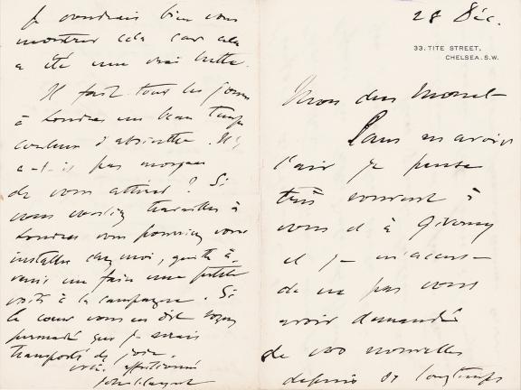 John Singer Sargent to Claude Monet letter
