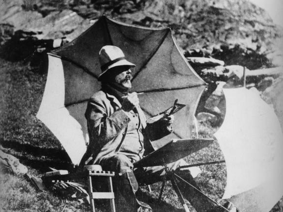 Photograph of John Singer Sargent painting a watercolor in the Simplon Pass