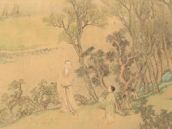 Detail of Wang Hui and Jiao Bingzhen's painting, Portrait of An Qi in His Garden