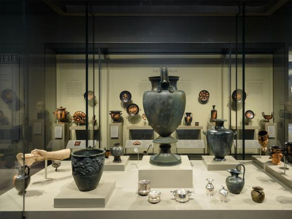 View of pottery displayed in case in Dionysos and the Symposium Gallery