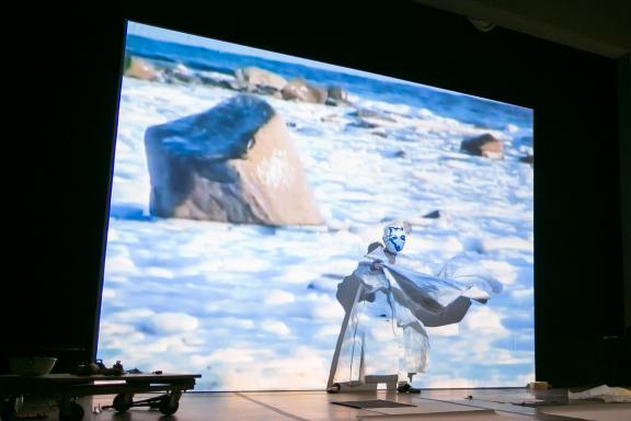 Joan Jonas, Reanimation, 2013. Performance inspired by the novel Under the Glacier by Nobel Prize-winning Icelandic author Halldór Laxness. Photo by Shane Godfrey.